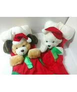 Vtg 2 Stockings Dog White Bear Santa Hats Plush Puffy Nylon Christmas Re... - $44.50