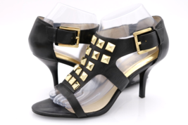 Michael Kors Womens 9M Black Leather Studded Stiletto Buckle Heels Sandals - $29.99