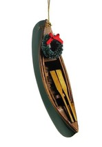 "HAND PAINTED 5.25"" WOODEN CANOE w/ HOLIDAY WREATH COASTAL LAKE XMAS ORNA... - $12.88"
