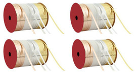 """Lot of 4 Rolls of Thin 3/16"""" W Gold/White/Silver Flat Curling Ribbon 70Ft NEW"""