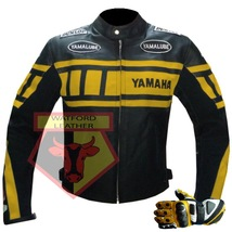 Yamaha 0120 Yellow Motorbike Cowhide Leather Jacket With Free Pair Of Gloves - $214.99