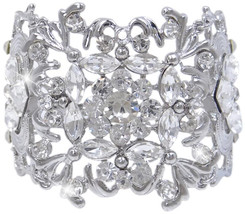 EVER FAITH Silver-Tone Bridal Art Deco Leaf Clear Austrian Crystal Bracelet - $69.20