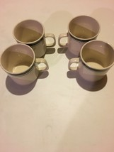 Set of 4 Gibson Housewares China Coffee Cups Green Stripe Dish & Micro Safe - $12.86