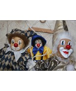 Old Vintage Set of 3 Clown Marrionette Puppet with Strings and Wooden Sw... - $49.49
