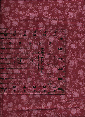 """New Dark Red with Flowers 100% Cotton Fabric 35"""" x 43"""" Piece"""