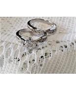 Wedding Engagement Halo Bridal CZ Ring Band Set Sz 4 New - $24.00