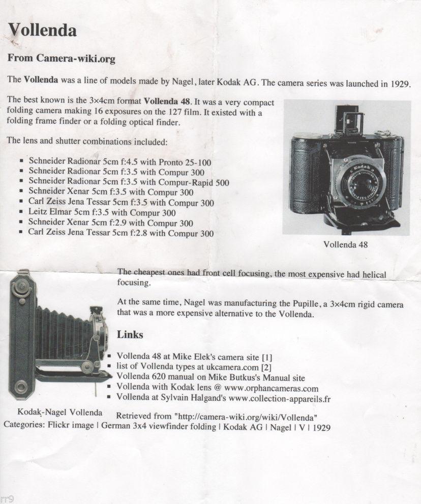 Vollenda Kodak-Nagel Camera Single 1 Sheet Brochure - $4.00