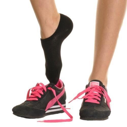 Angelina 12 Pair Pack Non-Slip Silicone Patch Cotton No Show Socks xx911 Black