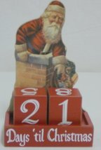 Vintage Santa Countdown Days Til Christmas With Blocks Wood Advent Calendar New