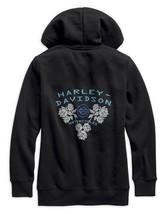 Harley-Davidson Women's Small 1/4 zip black Roses Sweatshirt pullover 96... - $30.96