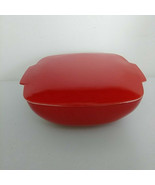 Vintage Pyrex Red Glass Square Casseroles 525B-025 A-22 with Lid...Rare ... - $154.75