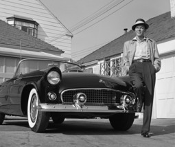 Frank Sinatra Standing Next To T-Bird - Colorized, an Archival Print - $595.00+