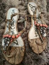 Sam Edelman Jeweled Dayton Embellished Thong Sandal Women's Adjustable Size 7.5 - $37.39