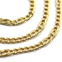18K YELLOW GOLD CHAIN 3 MM, 20 INCHES, ALTERNATE 5 GOURMETTE, 2 TIGER EYE LINKS image 2