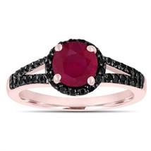 Ruby Engagement Ring 14k Rose Gold 1.02 Carat Bridal Unique Halo Handmade - $1,615.00