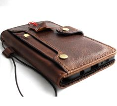 Genuine Natural leather Case for iPhone 7 wallet cover holder button snap clasp - $44.99