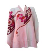 "Free Size 42"" Floral Batik V Neck Cotton Kaftan Shirt Top Hand Paint Silky Soft - $50.99"