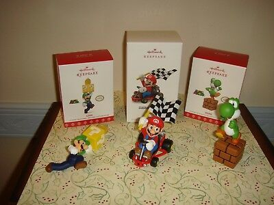 Primary image for  Hallmark Super Mario Luigi LE, Yoshi 2017 & Mario Kart 2018 Ornament