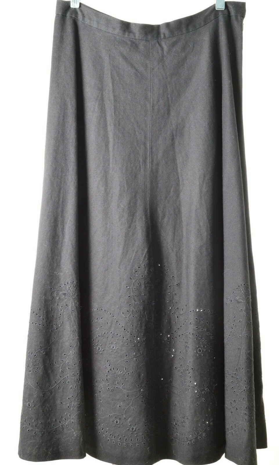 Primary image for Ralph Lauren skirt SZ 8 full circle black linen eyelet embroidery