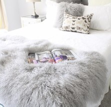 GREY REAL TIBETAN FUR MONGOLIAN LAMBSKIN SHEEPSKIN HIDE BED THROW BLANKE... - $383.76