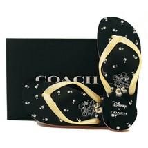 Nwt Coach Disney Womens Limited Minnie Mouse Flip Flops Black Yellow US11 FG2606 - $39.60