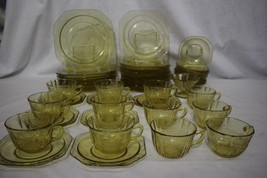 49pc Vintage Federal Depression MADRID Amber Glass Plates, Bowls, Cups, ... - $299.99