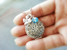 Silver Filigree Locket Orchid And Birthstone Charm Necklace Round Silver... - $36.00