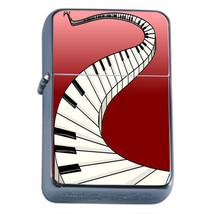 Piano Keys Em1 Flip Top Oil Lighter Wind Resistant With Case - $12.82