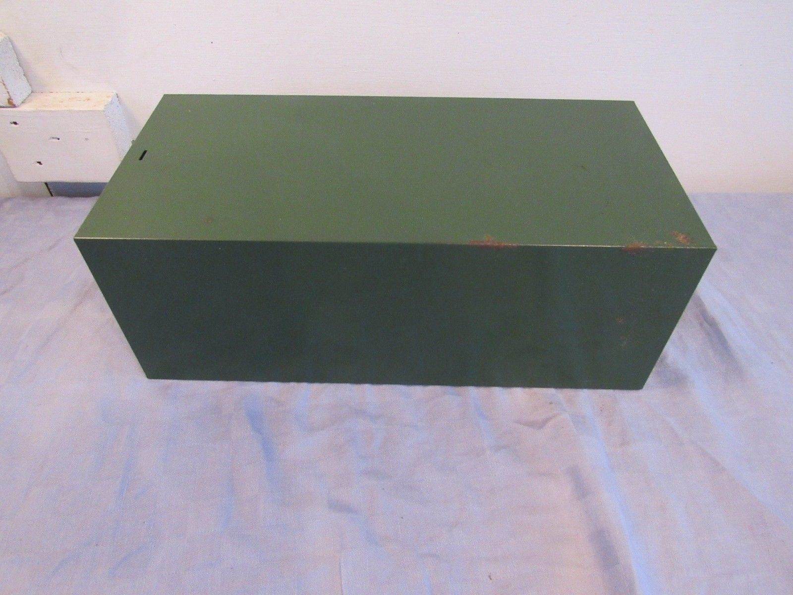 Vtg Green Cole-Steel Metal 3x5 Index Card File Recipe Box Drawer Industrial Lock