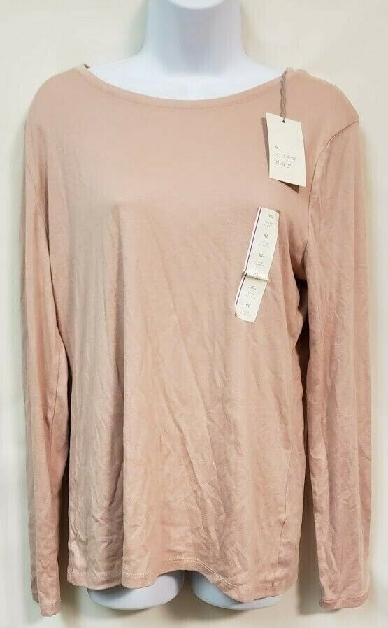Primary image for a new day Rose Colored Long Sleeve Casual Top Size XL NWT