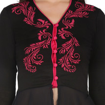 Ira Soleil black viscose knit strech printed women peplum top - $49.99