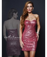 Milano Formals E1670 Light Fuchsia Pink Sequins Strapless Party Mini Dre... - $96.03