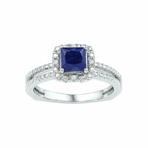 Sterling Silver Princess Lab-Created Blue Sapphire Solitaire Ring 7/8 Ctw - £47.70 GBP