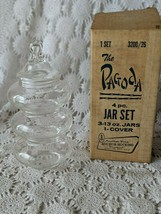 Anchor Hocking The Pagoda 4 Piece Jar Set With Lid Vintage  - $14.54