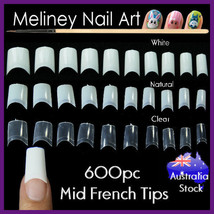 600pc Mid French Tips Fake Nail False Short Nails Art Extensions Artificial - $10.14+