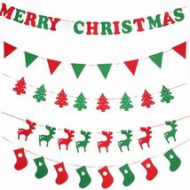 Diy Non-Woven Fabric Xmas Flags Santa Clause Floral Bunting Banners Merry - $1.82+