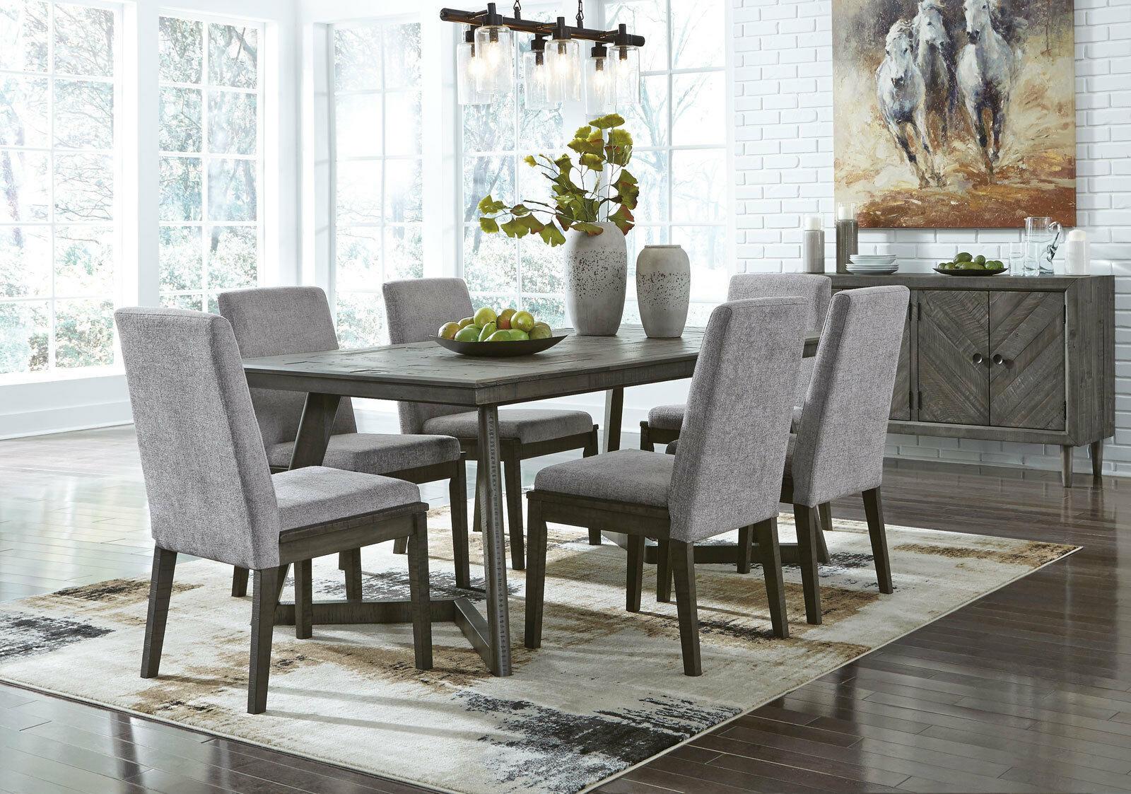 new modern pine gray finish dining room rectangular table