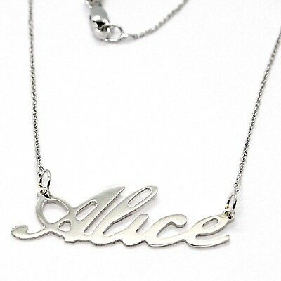 18K WHITE GOLD NAME NECKLACE, ALICE, AVAILABLE ANY NAME, MADE IN ITALY