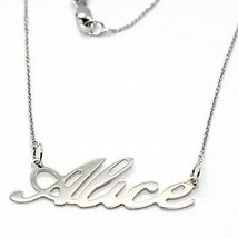 18K WHITE GOLD NAME NECKLACE, ALICE, AVAILABLE ANY NAME, MADE IN ITALY image 1