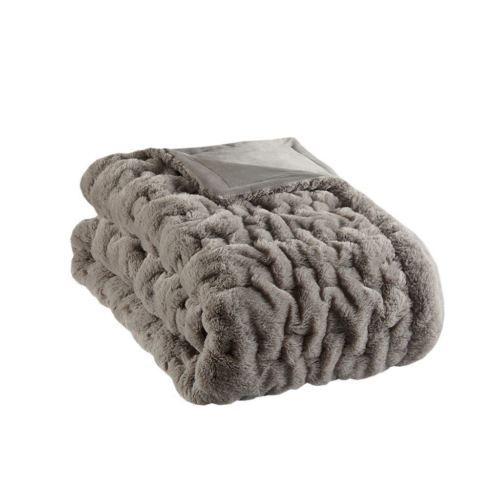"Luxury Grey Ruched Faux Fur Reversible Throw - 50"" x 60"""