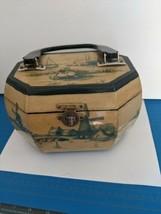 MCM dutch scene wooden octagon box purse with lucite handles - $35.63