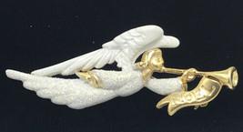 Vtg Signed AJC Goldtone White Glitter Enamel Figural Angel ChristmasBroo... - $24.95