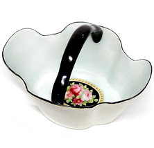 PM Bavaria Porcelain Basket Robbin's Egg Blue & Black Circa 1874 - 1894 - $30.00
