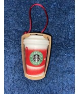 Starbucks Ornament Holiday Christmas 2010 Ceramic Red Catching Snowflake... - $19.80