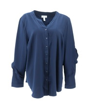 Denim & Co Button Front Stretch Woven Top Ruffle Navy L NEW A347261 - $30.67