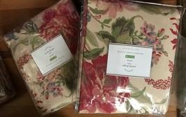 Pottery Barn Set 2 Marla Drape Red 50x96L Curtains Floral Pole Pocket Pair - $218.00