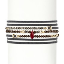 "Multicolor Faceted Bead 14k Gold-Plated Grey Suede Stretch Bracelet 36""-37.5"" - $12.62"