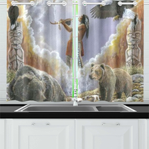 One With Nature Peace Pipe Kitchen Curtain 26'' X 39' - $30.00