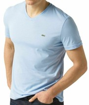 BRAND NEW LACOSTE MEN'S ATHLETIC COTTON V-NECK  T-SHIRT MINERAL SNOWCONE BLUE