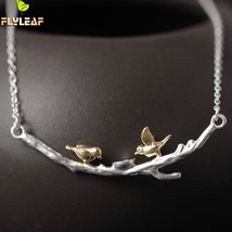 Original Sterling-silver-jewelry Golden Tree Branches Birdie Necklaces &... - $17.74